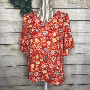 Loft NWOT Red Floral Blouse Ruffle
